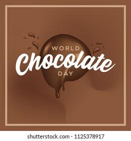 Celebrate world chocolate day background with splash  chocolate and typography.