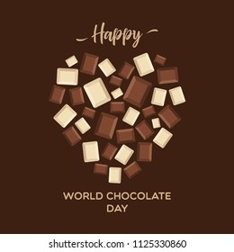 Celebrate world chocolate day greeting background with lettering typography word. Chocolate blocks forming heart.
