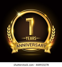 Celebrating 1 years anniversary logo with golden ring and ribbon, laurel wreath vector design.