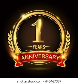 Celebrating 1 years anniversary logo with golden ring and red ribbon.