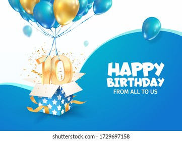 Celebrating of 10 th years birthday vector 3d illustration. Tenth anniversary celebration. Open gift box with explosions confetti and number nine flying on balloons on light background