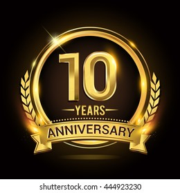 Celebrating 10 years anniversary logo with golden ring and ribbon, laurel wreath vector design.
