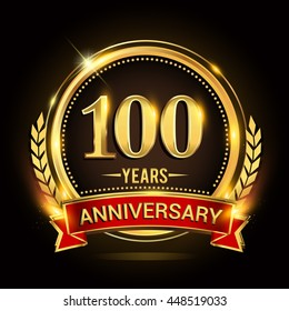 Celebrating 100 years anniversary logo with golden ring and red ribbon.