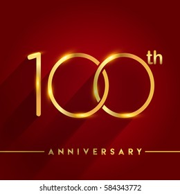 Celebrating of 100 years anniversary, logotype golden colored isolated on red background, vector design for greeting card and invitation card