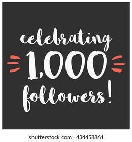 Celebrating 1,000 Followers (Vector Design Template For Social Media)