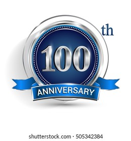 Celebrating 100th anniversary logo, with silver ring and blue ribbon isolated on white background