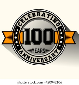 Celebrating 100th years anniversary logo vintage emblem with yellow ribbon. Retro vector background.