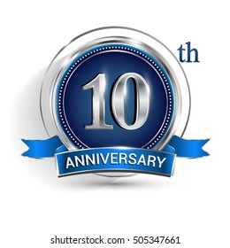 Celebrating 10th anniversary logo, with silver ring and ribbon isolated on white background.