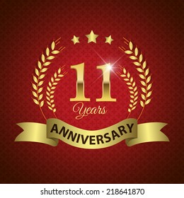Celebrating 11 Years Anniversary - Golden Laurel Wreath Seal with Golden Ribbon - Layered EPS 10 Vector