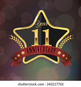 Celebrating 11 Years Anniversary - Golden Star with Laurel Wreath Seal with Red Golden - Layered EPS 10 Vector.