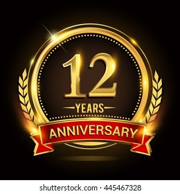 Celebrating 12 years anniversary logo with golden ring and red ribbon.