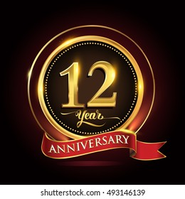 Celebrating 12 years anniversary template logo with golden ring and red ribbon