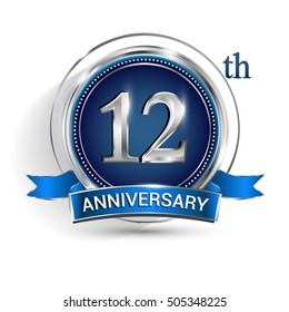 Celebrating 12th anniversary logo, with silver ring and blue ribbon isolated on white background.