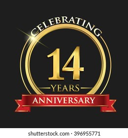 Celebrating 14 years anniversary logo. with golden ring and red ribbon.