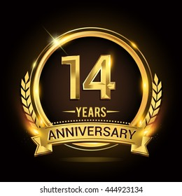 Celebrating 14 years anniversary logo with golden ring and ribbon, laurel wreath vector design.