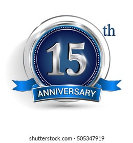 Celebrating 15th anniversary logo, with silver ring and blue ribbon isolated on white background.