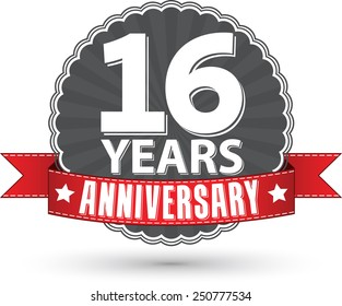Celebrating 16 years anniversary retro label with red ribbon, vector illustration
