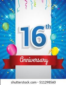 Celebrating 16th Anniversary logo, with confetti and balloons, red ribbon, Colorful Vector design template elements for your invitation card, flyer, banner and poster.