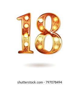 Celebrating of 18 years anniversary, logotype golden colored isolated on white background. Vector illustration