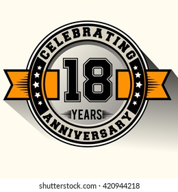 Celebrating 18th years anniversary logo vintage emblem with yellow ribbon. Retro vector background.