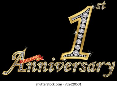 Celebrating  1st anniversary golden sign with diamonds, vector illustration