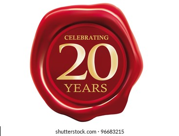 celebrating 20 years wax seal over white background
