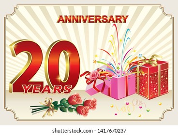 Celebrating 20th anniversary, happy birthday 20 years with gift boxes and a bouquet of roses. Vector illustration