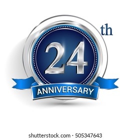 Celebrating 24th anniversary logo, with silver ring and blue ribbon isolated on white background.