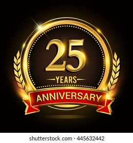 Celebrating 25 years anniversary logo with golden ring and red ribbon