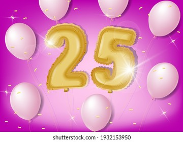 Celebrating 25 years with gold and pink balloons and glitter confetti on a pink background. Vector design for celebrations, invitation cards and greeting cards.