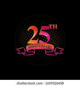 Celebrating the 25th anniversary logo, with gold rings and gradation ribbons isolated on a black background.