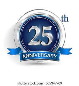 Celebrating 25th anniversary logo, with silver ring and blue ribbon isolated on white background.