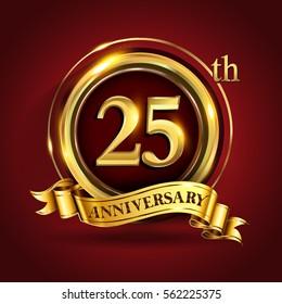 Celebrating 25th golden anniversary, twenty five years birthday logo celebration with gold ring and golden ribbon.
