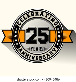 Celebrating 25th years anniversary logo vintage emblem with yellow ribbon. Retro vector background.