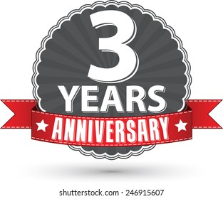 Celebrating 3 years anniversary retro label with red ribbon, vector illustration