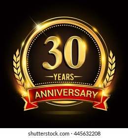 Celebrating 30 years anniversary logo with golden ring and red ribbon.