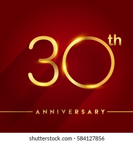 Celebrating of 30 years anniversary, logotype golden colored isolated on red background, vector design for greeting card and invitation card