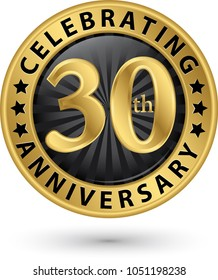 Celebrating 30th anniversary gold label, vector illustration