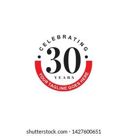 Celebrating 30th years anniversary logo design template