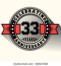 Celebrating 33 years anniversary logo vintage emblem with red ribbon, Retro vector design isolated on white background