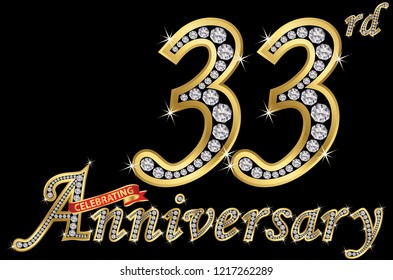 Celebrating  33th anniversary golden sign with diamonds, vector illustration