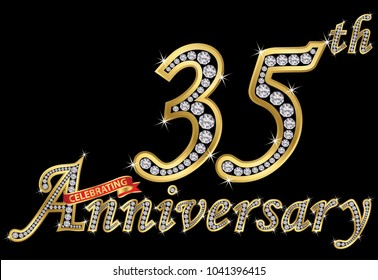 Celebrating  35th anniversary golden sign with diamonds, vector illustration