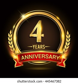 Celebrating 4 years anniversary logo with golden ring and red ribbon.
