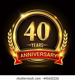 Celebrating 40 years anniversary logo with golden ring and red ribbon.