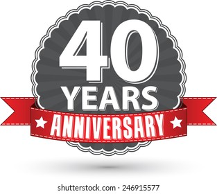 Celebrating 40 years anniversary retro label with red ribbon, vector illustration