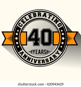 Celebrating 40th years anniversary logo vintage emblem with yellow ribbon. Retro vector background.