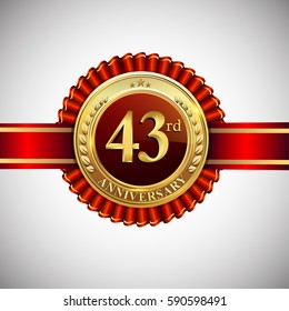 Celebrating 43rd anniversary logo, with golden badge and red ribbon isolated on white background.