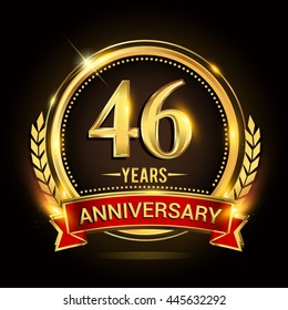 Celebrating 46 years anniversary logo with golden ring and red ribbon.