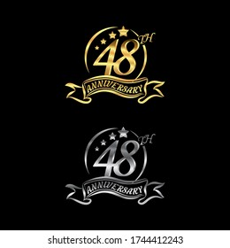Celebrating the 48th anniversary logo,star shape, with gold and silver rings and gradation ribbons isolated on a black background.EPS 10