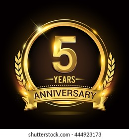 Celebrating 5 years anniversary logo with golden ring and ribbon, laurel wreath vector design.